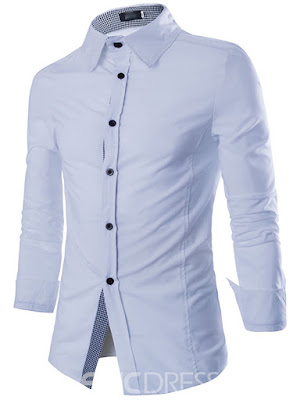 Ericdress Solid Color Fine Plaid Decorated Slim Men's Shirt