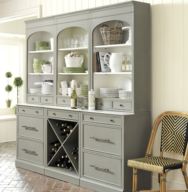 glamorous vintage gray dining room hutches with many drawers and plate shelves
