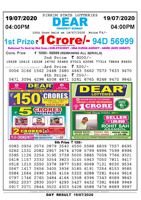 Sikkim State Lotteries 19-07-2020 Lottery Sambad Result 04:00 PM