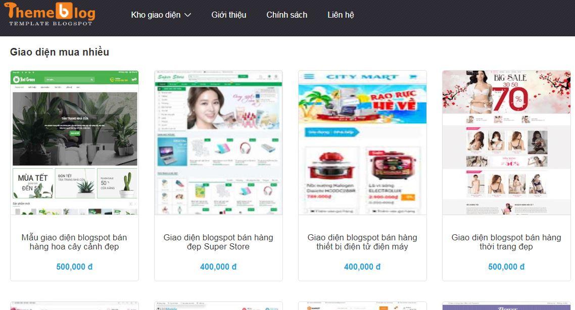 Dịch vụ thiết kế mẫu blogspot bán hàng theo yêu cầu