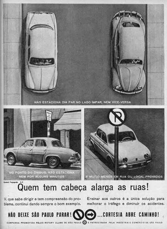 Anúncio antigo veiculado nos anos 50 ensinando a estacionar nas ruas em São Paulo
