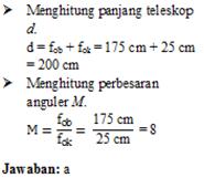 Menghitung perbesaran bayangan teropong