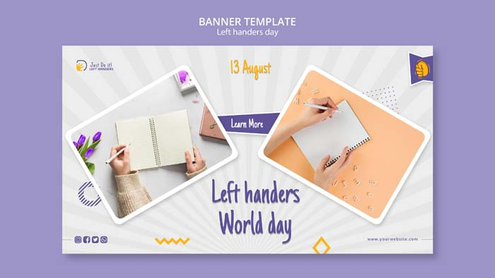 Left Handers Day Banner Design