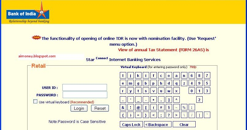 bank of india internet banking form pdf