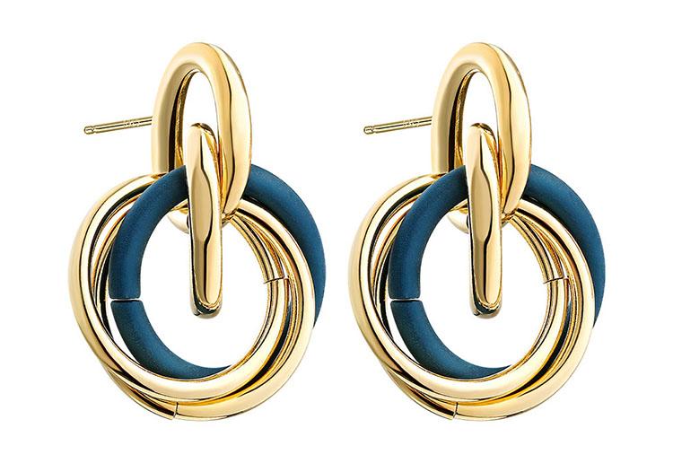 法式深藍搭金耳環