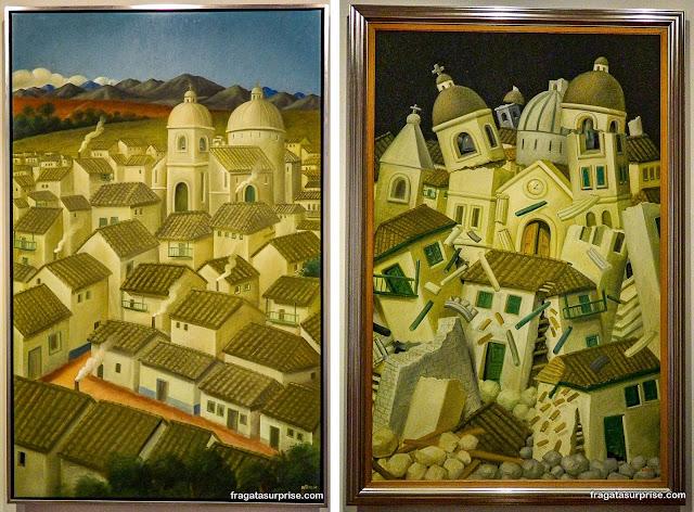 """Obras de Fernando Botero: """"Um Povoado"""" e """"Terremoto em Popayán"""", Museu Botero, Bogotá"""