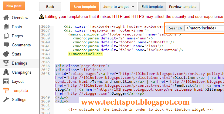 how to add privacy policy to blogger footer 3