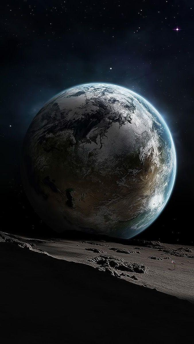 خلفيات ايفون 6 بعد الارض عن القمر