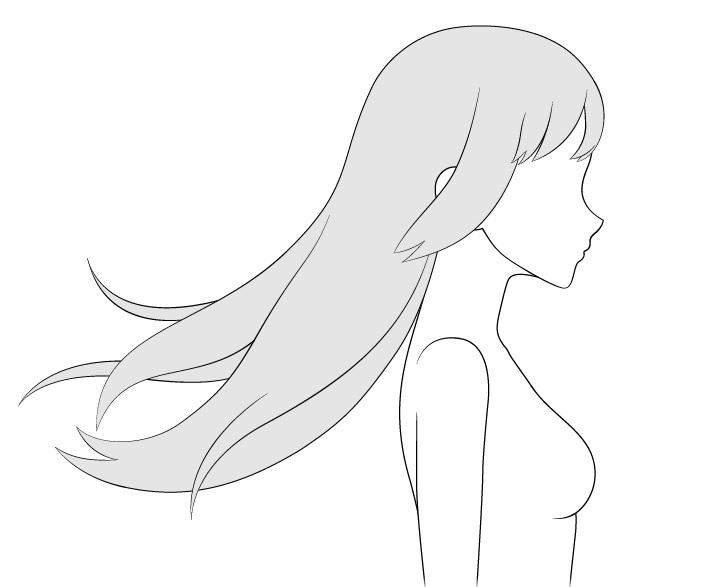 Rambut anime bertiup mundur menggambar