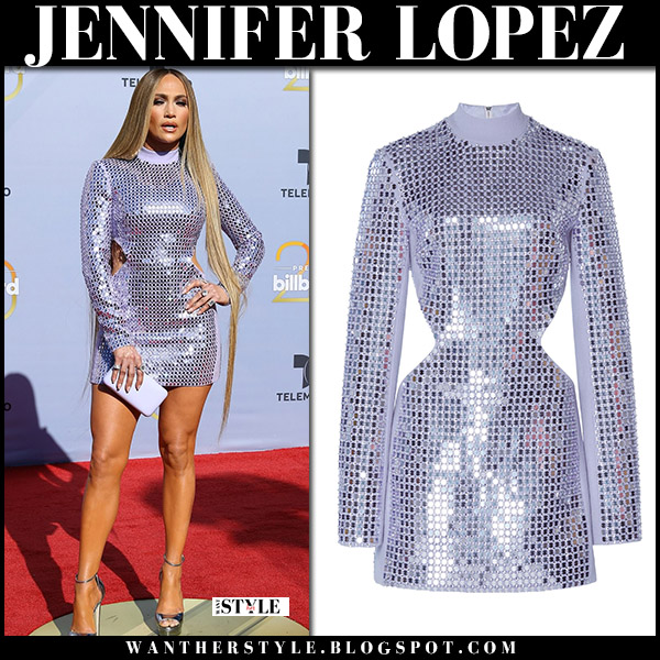Jennifer Lopez in silver metallic mini dress david koma at Billboard Latin Music Awards red carpet fashion 2018