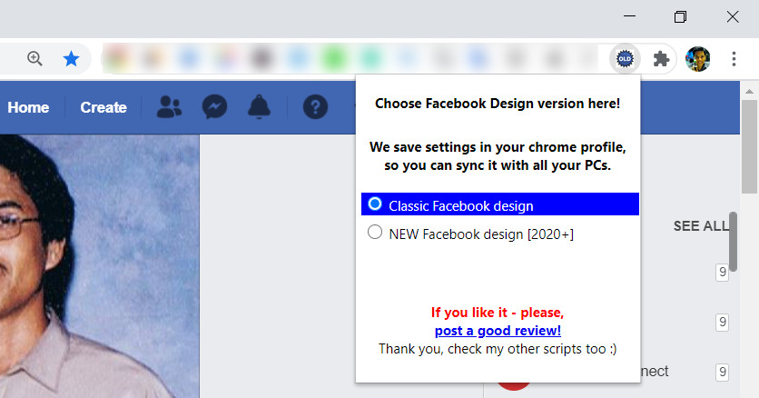 Switch To Classic Facebook Extension