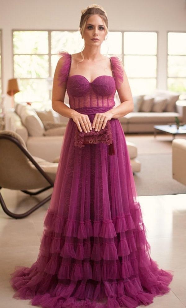 vestido de festa longo fúcsia uva para madrinha de casamento