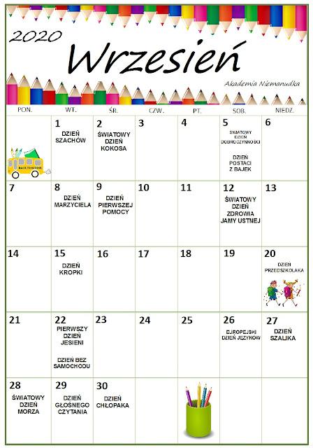 kalendarz świąt typowych i nietypowych na rok szkolny 2020/2021
