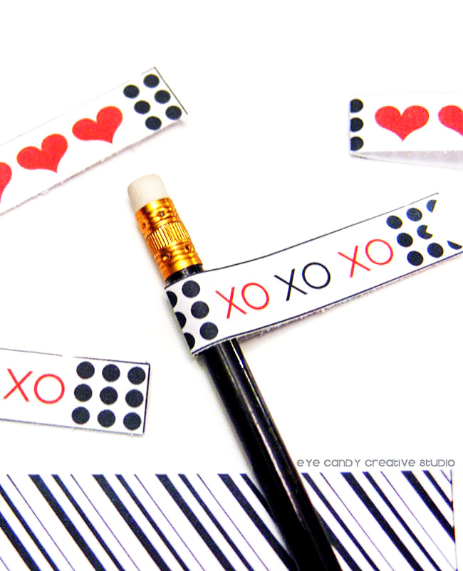 black & white stripe, XO, free valentines, polka dots, pencil flags