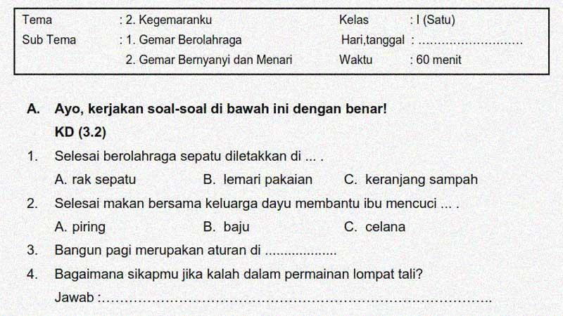 Soal Penilaian Kelas 1 Tema 2 Subtema 1 dan 2 + Kunci Jawaban