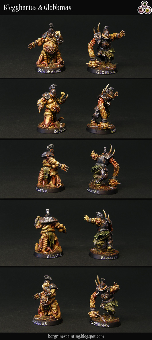 2 painted Bloaters of Nurgle miniatures for use in Blood Bowl, converted out of Putrid Blightkings using greenstuff, visible from different angles. Their skin is pale yellow and the armor cold black with rusty weathering. One on the left has tentacles for legs, representing the 'Stand Firm' skill, while the one on the right has a fleshy mace for a hand, representing the 'Mighty Blow' skill.