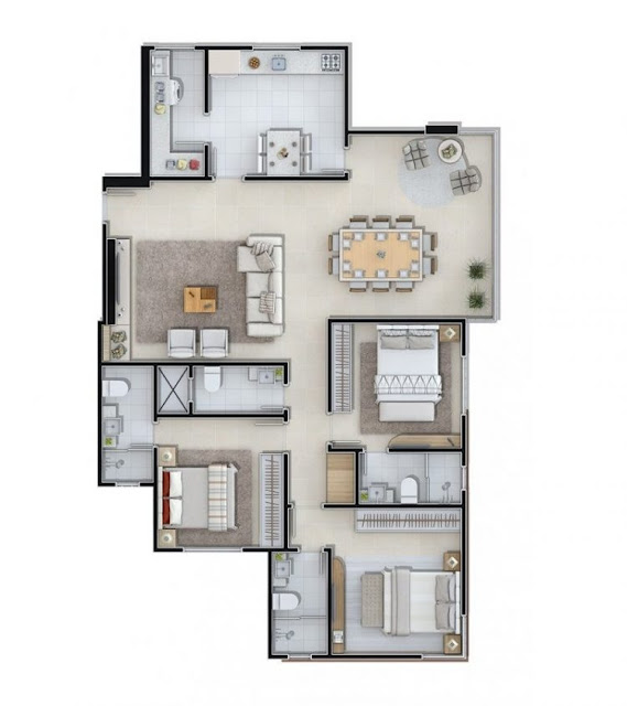 house plans 3 rectangular rooms