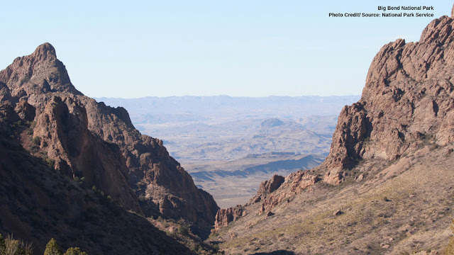 looking down into Big Bend National Park from the canyon
