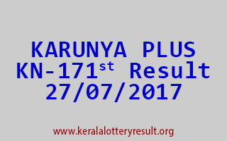KARUNYA PLUS Lottery KN 171 Results 27-7-2017