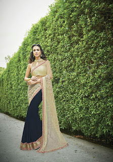 Latest Bridal Sarees Collection in HalfNhalf Style