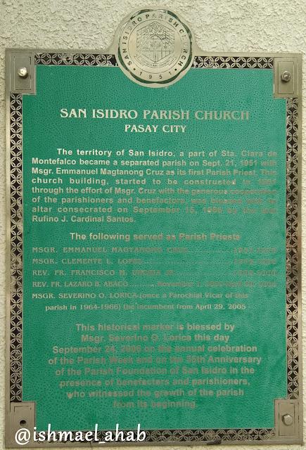 Historical marker in San Isidro Labrador Church in Pasay