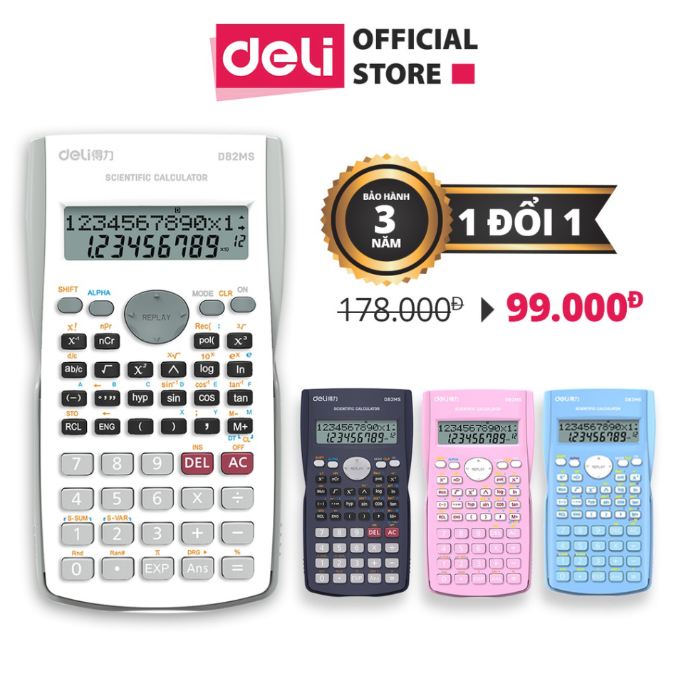 Máy tính kỹ thuật Deli - Đen/Xanh dương/Hồng/Trắng - D82MS