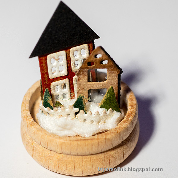 Layers of ink - Winter Cottage in a Snowglobe by Anna-Karin Evaldsson.