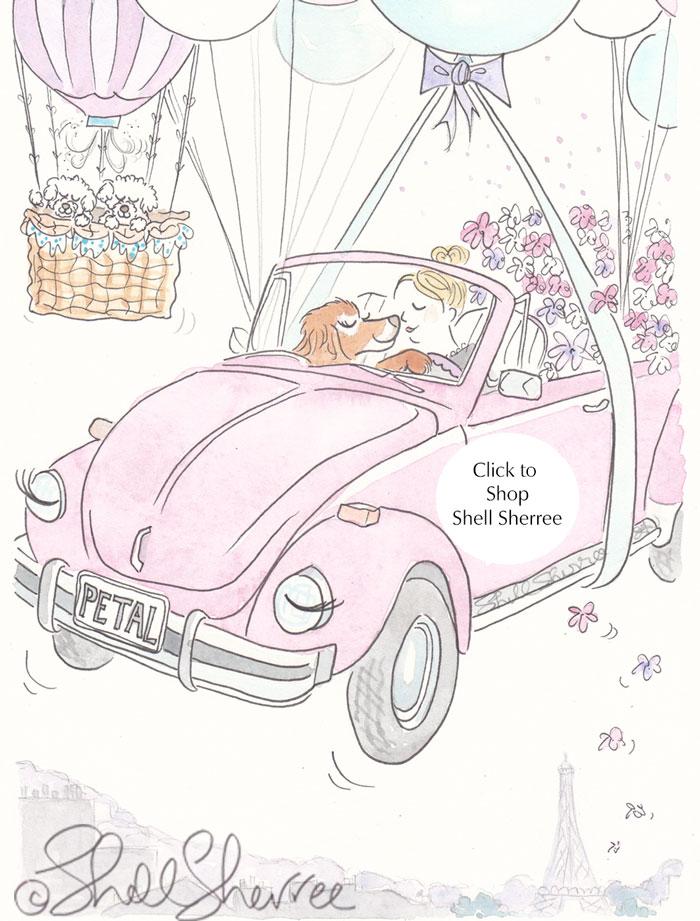 Pink VW Balloon Flight Over Paris Mitzi & Crew illustration  © Shell Sherree all rights reserved