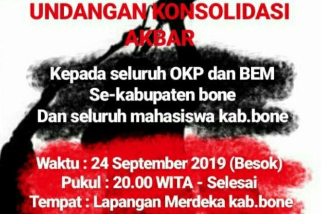Mahasiswa Se-Kabupaten Bone Gelar Aksi Malam Ini, Tolak RUU KPK dan RKUHP