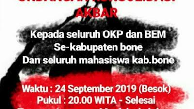 Mahasiswa Se-Kabupaten Bone Konsolidasi Akbar Malam Ini, Tolak RUU KUHP dan UU KPK
