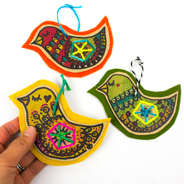 Cardboard and felt bird ornaments- great Christmas kids craft