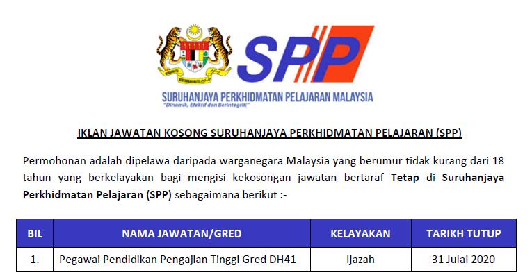 Permohonan Jawatan Kosong Di Suruhanjaya Perkhidmatan Pelajaran Malaysia Spp