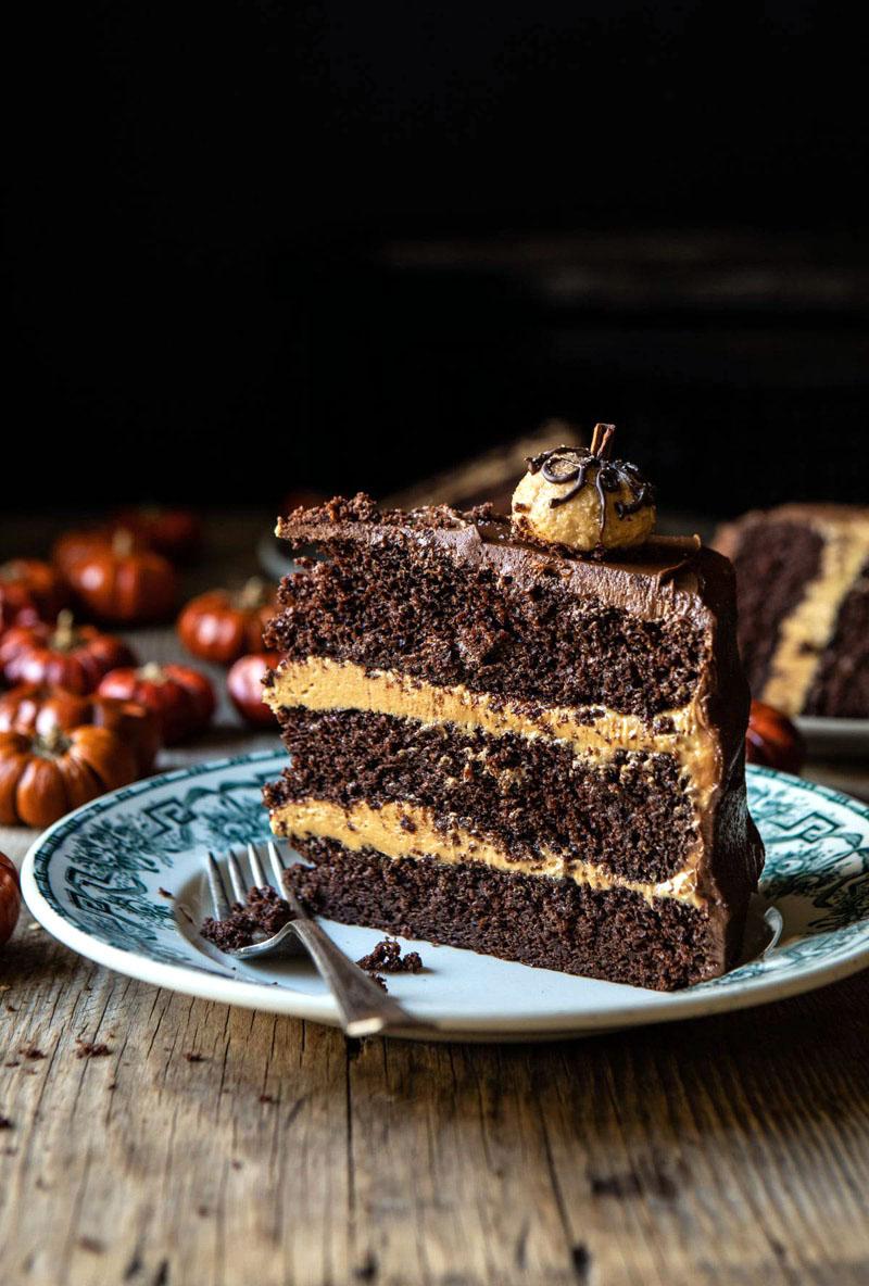 Pumpkin Patch Chocolate Peanut Butter Cake.