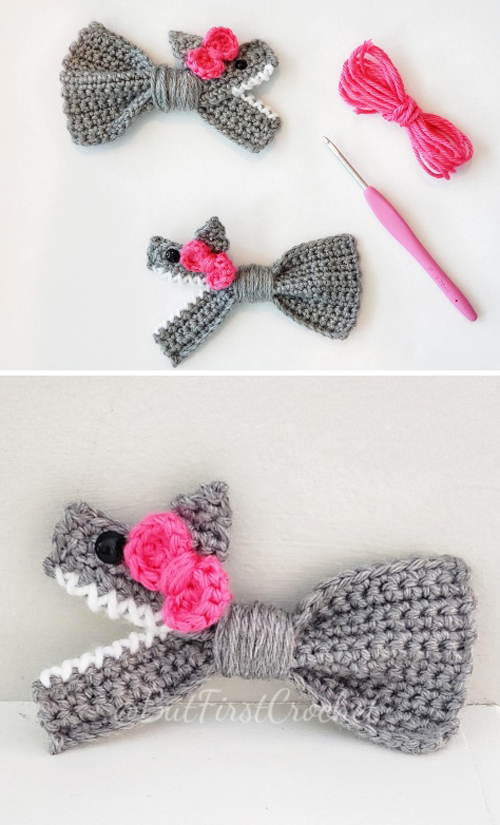 Baby Shark Bow - Crochet Pattern
