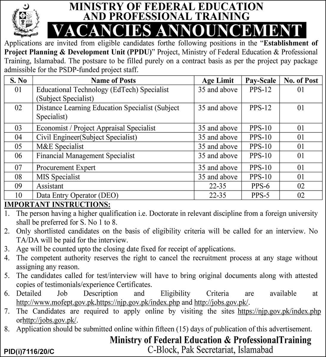 Ministry of Federal Education & Professional Training MOENT Jobs 2021 For Educational Technology Specialist, Distance Learning Education Specialist, Economist, Project Appraisal Specialist, Civil Engineer, M&E Specialist, And more