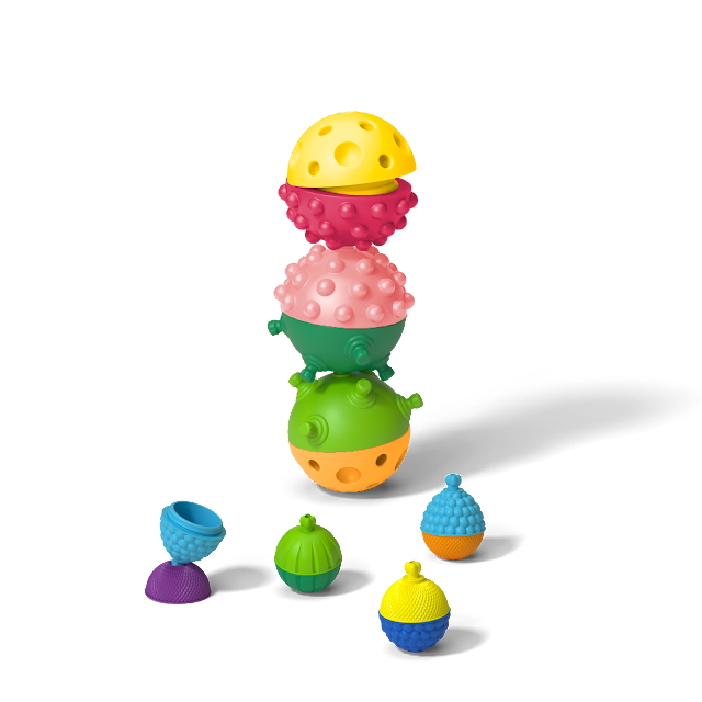 Lalaboom towers using the sensory balls and beads