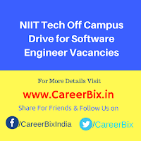NIIT Tech Off Campus Drive for Software Engineer Vacancies