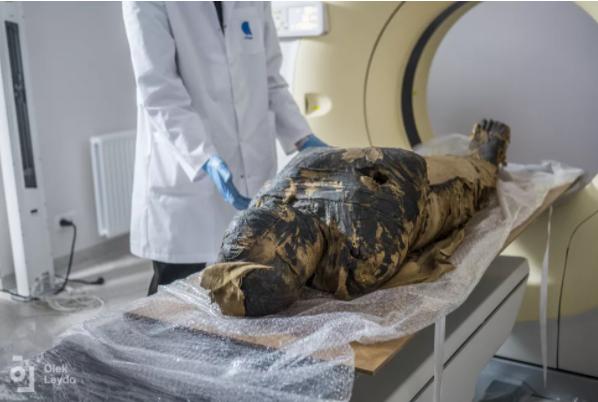 Os pesquisadores fizeram exames da múmia e descobriram que os restos mortais pertenciam a uma mulher grávida. (Crédito da imagem: Warsaw Mummy Project)