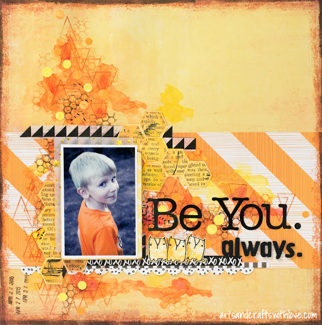 Scrapbooking layout for TIMI May '15 Challenge: Be You. Always.