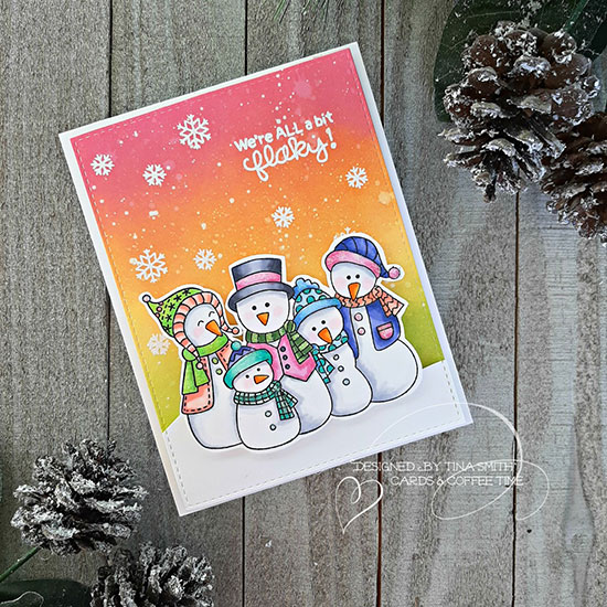 Deck the Halls with Inky Paws Week - Day 2 - Tina Smith | Card using Ink Blends and Frosty Folks Stamp Set by Newton's Nook Designs #newtonsnook #handmade