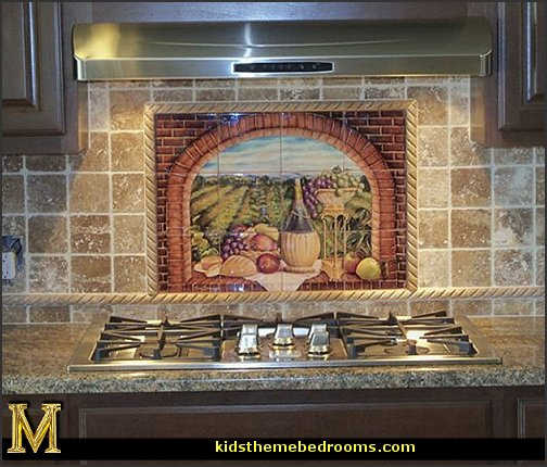 Italian Villa wallpaper murals Tuscany Vineyard Style decorating - Tuscan Wall mural stickers - Tuscan themed kitchen accessories - grape decor - Tuscan theme decor - Wine barrel decor - rustic decor - Venice Italy decorating ideas - Italian Cafe - Old World furniture - luxury bedding - tuscan themed bedroom decor