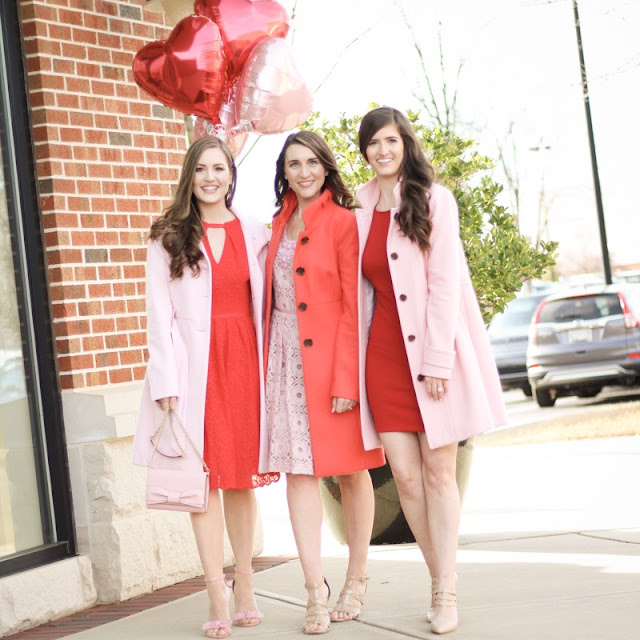 Galentine's Day//Cookies//Friendship//Pink Dress//Red Dress//Pink Coats//Heart Balloons
