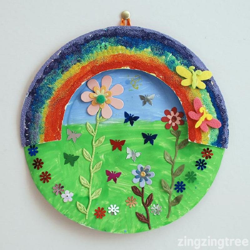 paper plate rainbow garden collage craft