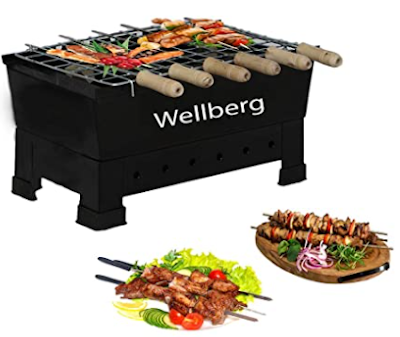 Wellberg Charcoal Grill Barbecue with 7 skewers