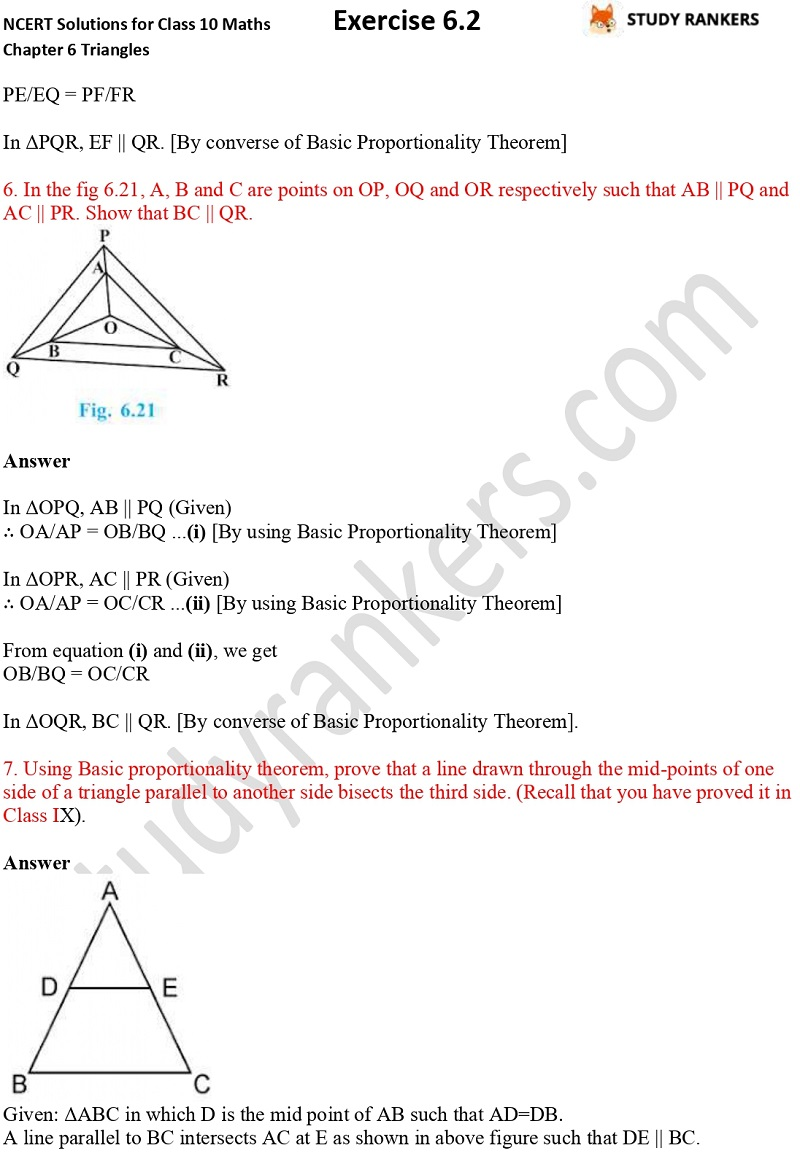 NCERT Solutions for Class 10 Maths Chapter 6 Triangles Exercise 6.2 Part 4