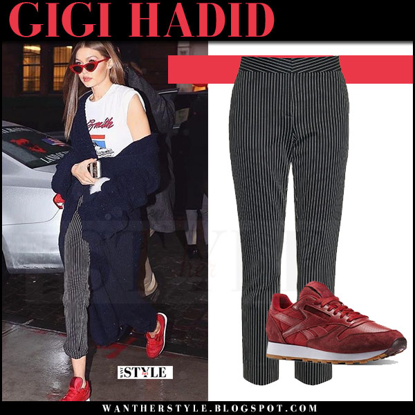 Gigi Hadid in grey pinstripe pants and red sneakers what she wore march 2017