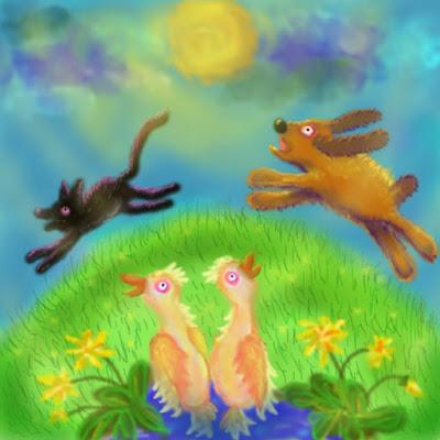 Illusztráció gyerekvershez, egy ágyból korán kirángatott gyerek álmában kutya és fekete macska kergeti egymást körbe egy kerek zöld kisbolygón.