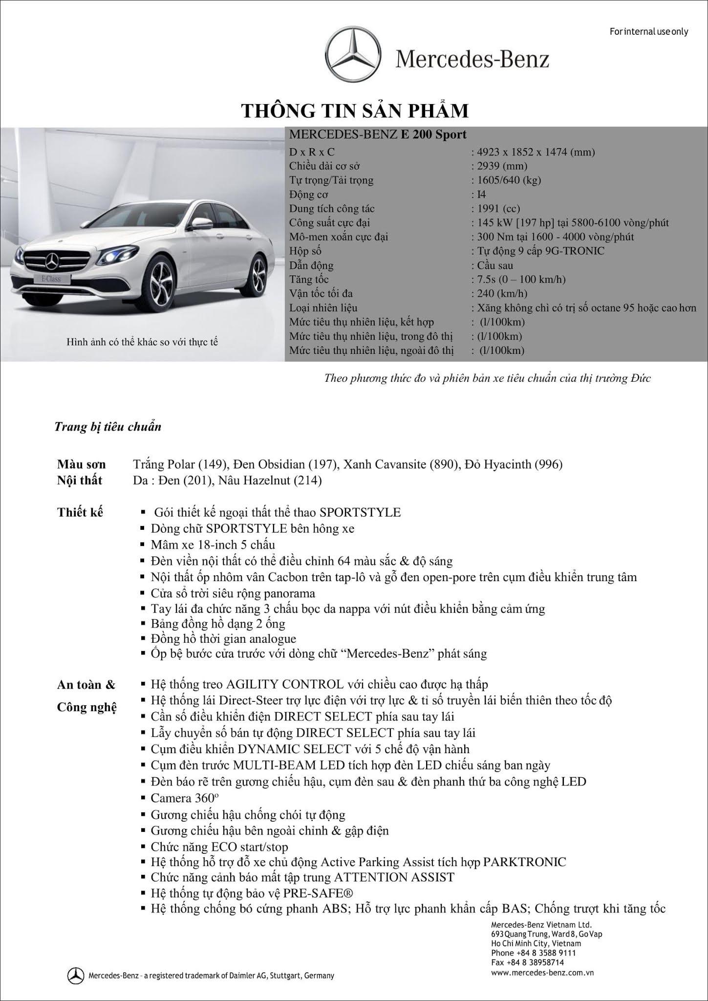 Bảng thông số kỹ thuật Mercedes E200 Sport 2019 tại thị trường Việt Nam