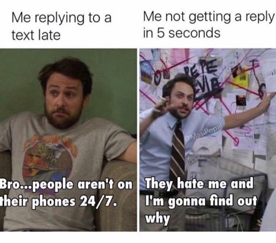 text message anxiety meme