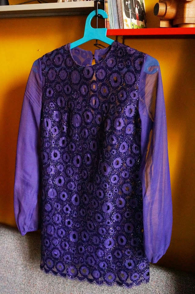 60s 70s sheer purple gogo dress robe années 60 70 vintage